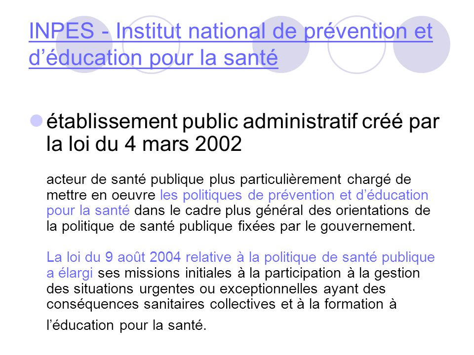 INPES - Institut national de prévention et d'éducation pour la santé
