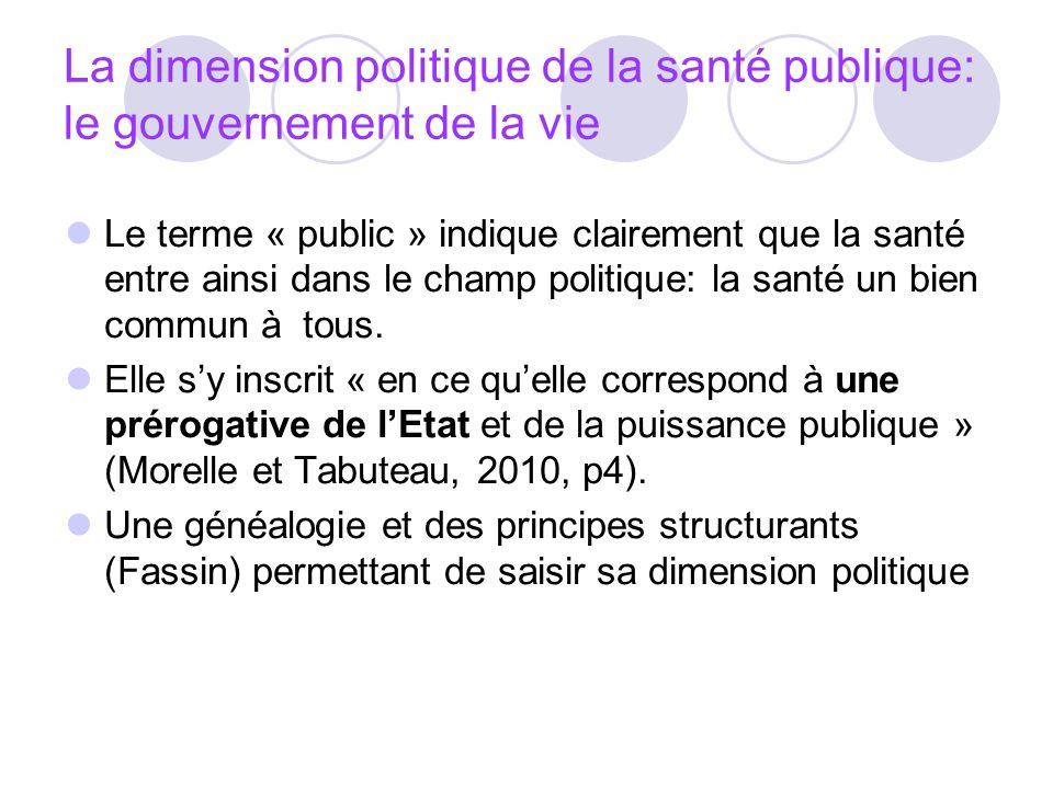 La dimension politique de la santé publique: le gouvernement de la vie