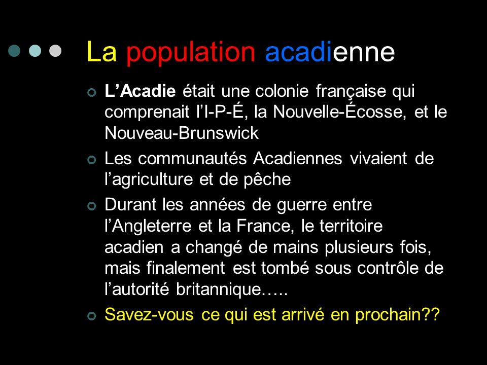 La population acadienne
