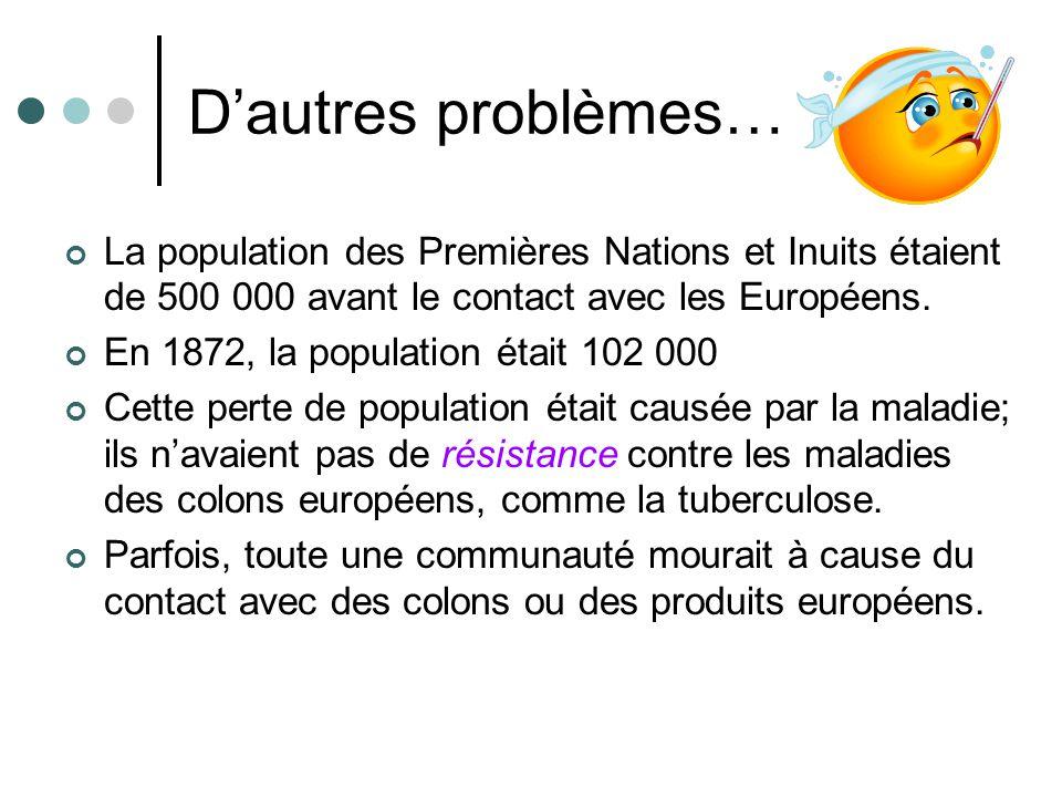 D'autres problèmes… La population des Premières Nations et Inuits étaient de 500 000 avant le contact avec les Européens.