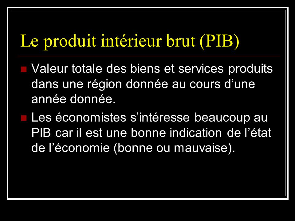 Le produit intérieur brut (PIB)