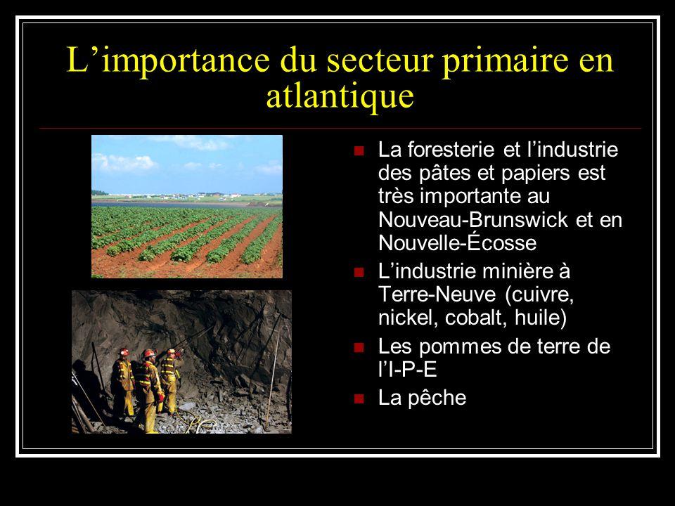 L'importance du secteur primaire en atlantique