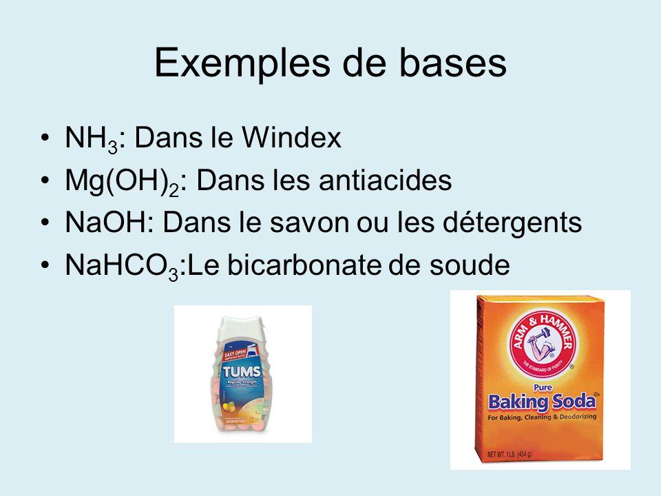 Exemples de bases NH3: Dans le Windex Mg(OH)2: Dans les antiacides
