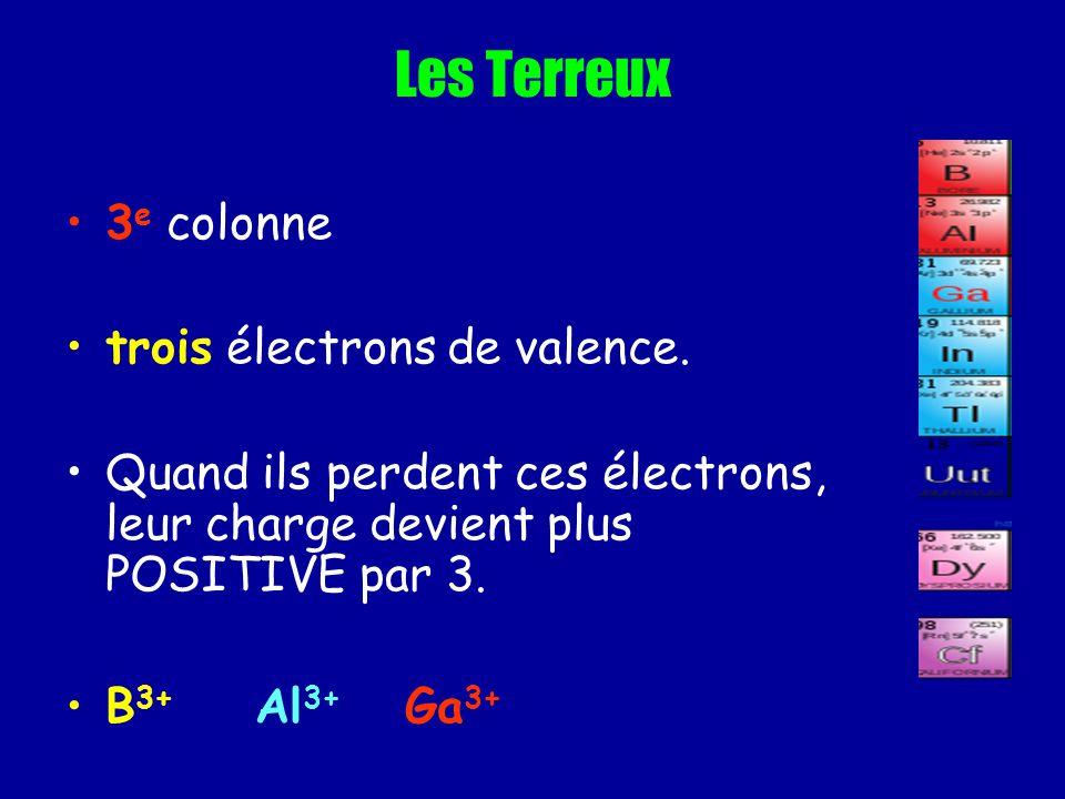 Les Terreux 3e colonne trois électrons de valence.
