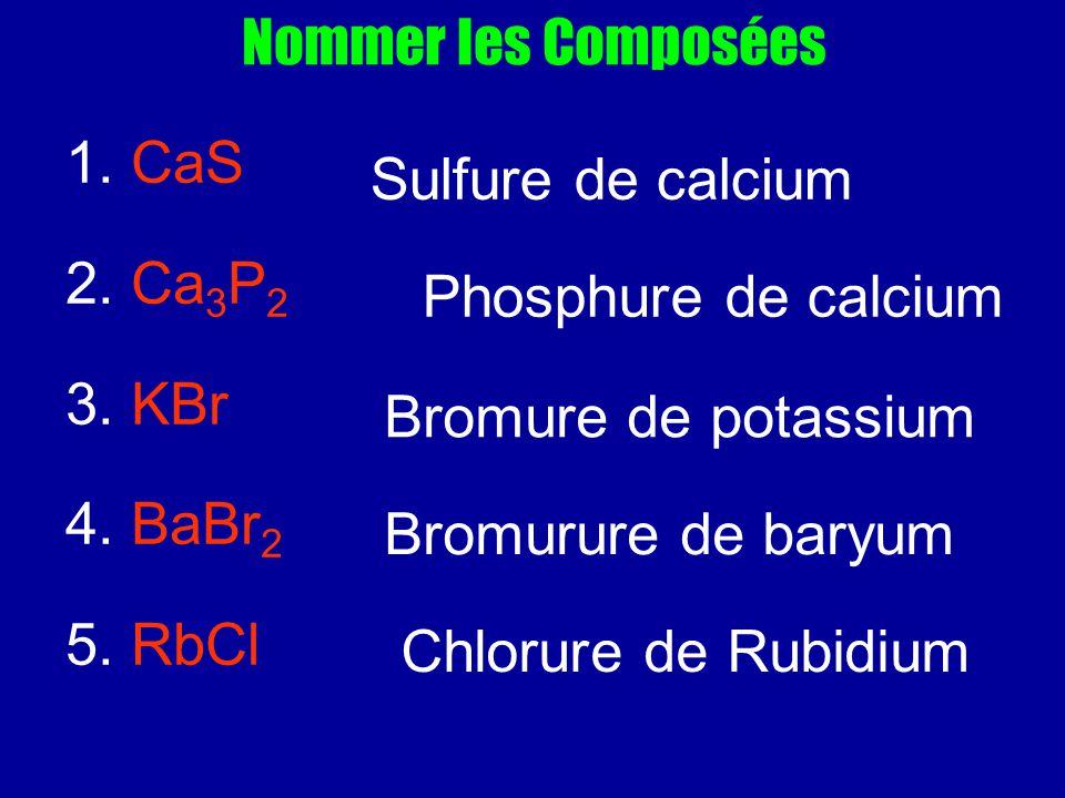 Nommer les Composées 1. CaS. 2. Ca3P2. 3. KBr. 4. BaBr2. 5. RbCl. Sulfure de calcium. Phosphure de calcium.