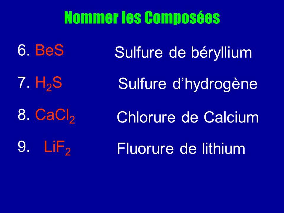 Nommer les Composées 6. BeS. 7. H2S. 8. CaCl2. 9. LiF2. Sulfure de béryllium. Sulfure d'hydrogène.