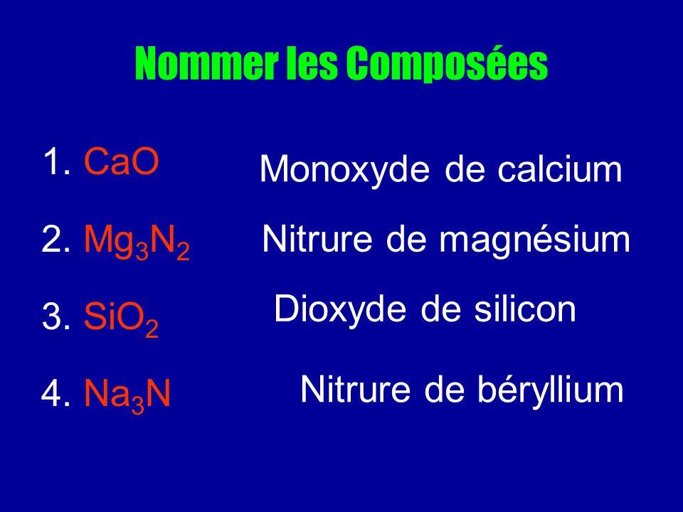 Nommer les Composées 1. CaO Monoxyde de calcium 2. Mg3N2 3. SiO2