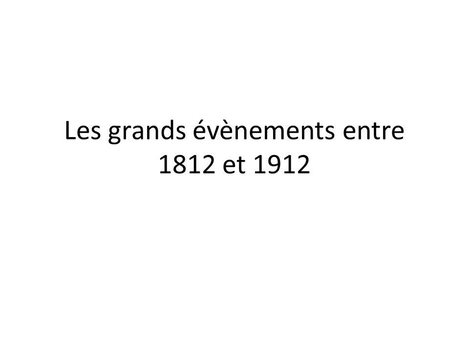 Les grands évènements entre 1812 et 1912