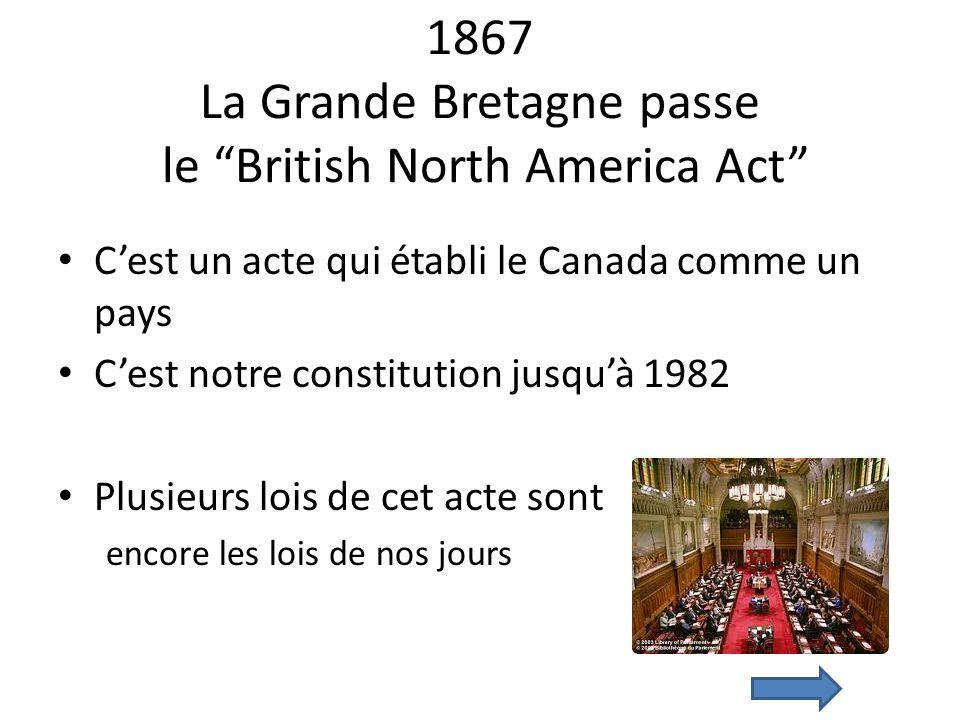 1867 La Grande Bretagne passe le British North America Act
