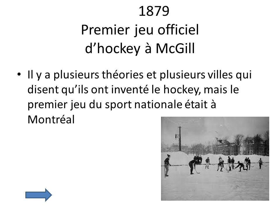 1879 Premier jeu officiel d'hockey à McGill