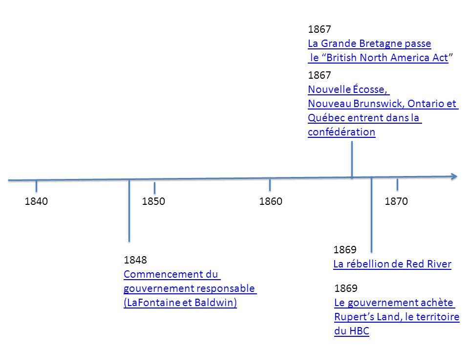 1867 La Grande Bretagne passe. le British North America Act 1867. Nouvelle Écosse, Nouveau Brunswick, Ontario et.