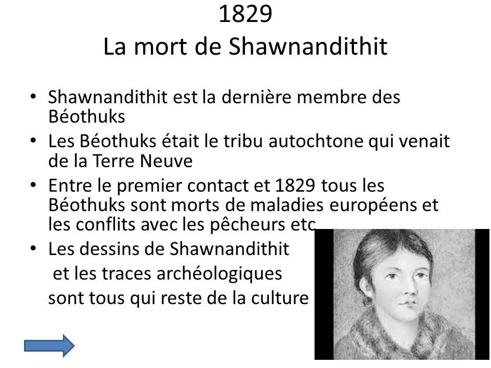 1829 La mort de Shawnandithit