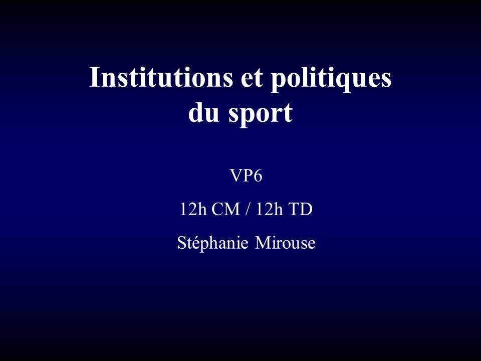 Institutions et politiques du sport