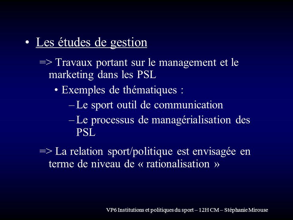 Les études de gestion => Travaux portant sur le management et le marketing dans les PSL. Exemples de thématiques :