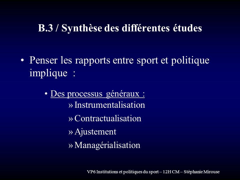 B.3 / Synthèse des différentes études