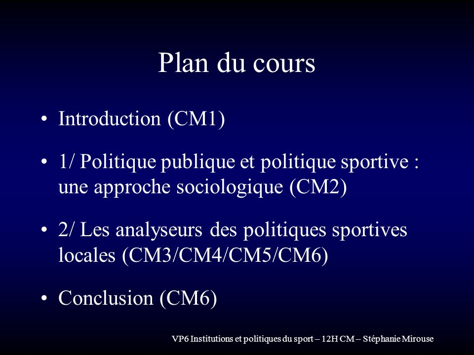 Plan du cours Introduction (CM1)