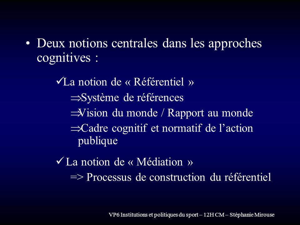 Deux notions centrales dans les approches cognitives :