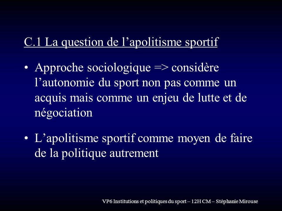 C.1 La question de l'apolitisme sportif
