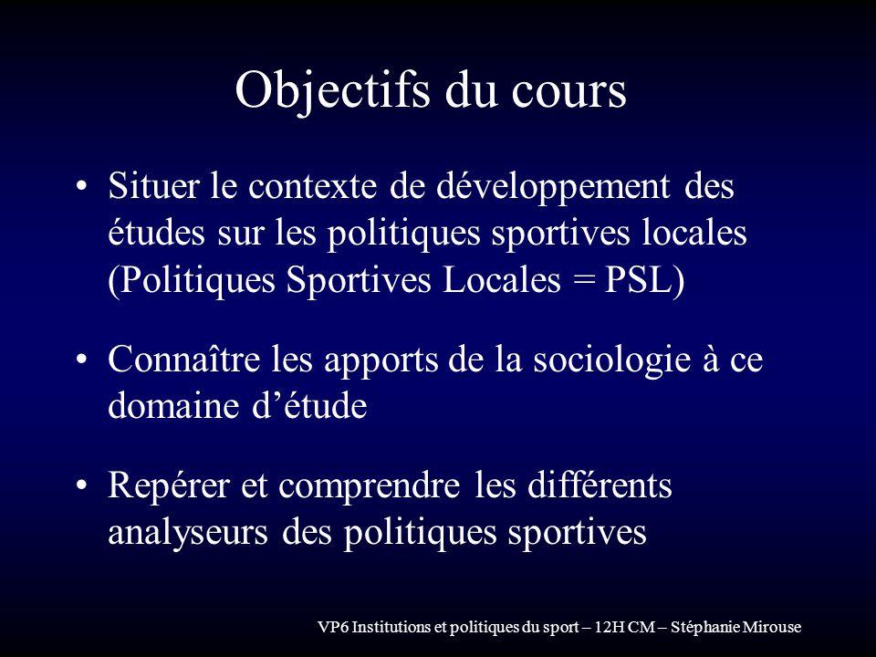 Objectifs du cours Situer le contexte de développement des études sur les politiques sportives locales (Politiques Sportives Locales = PSL)