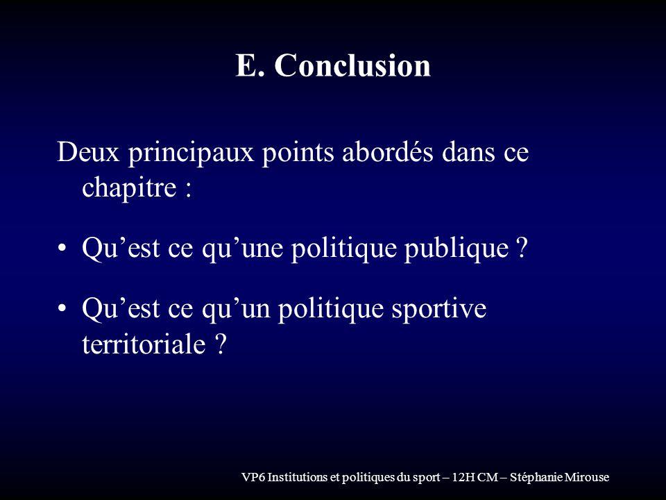 E. Conclusion Deux principaux points abordés dans ce chapitre :