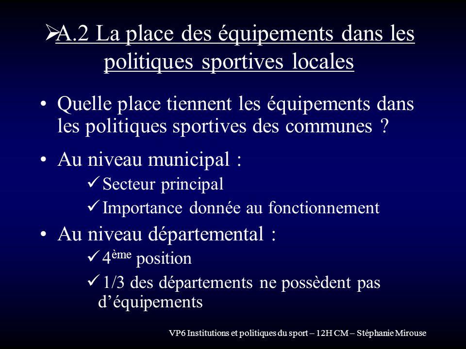 A.2 La place des équipements dans les politiques sportives locales