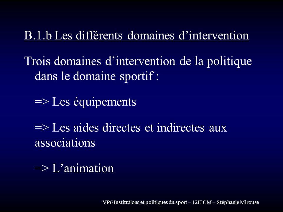 B.1.b Les différents domaines d'intervention