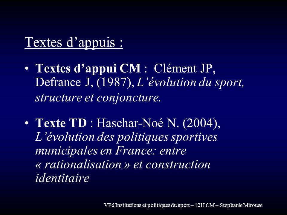 Textes d'appuis : Textes d'appui CM : Clément JP, Defrance J, (1987), L'évolution du sport, structure et conjoncture.