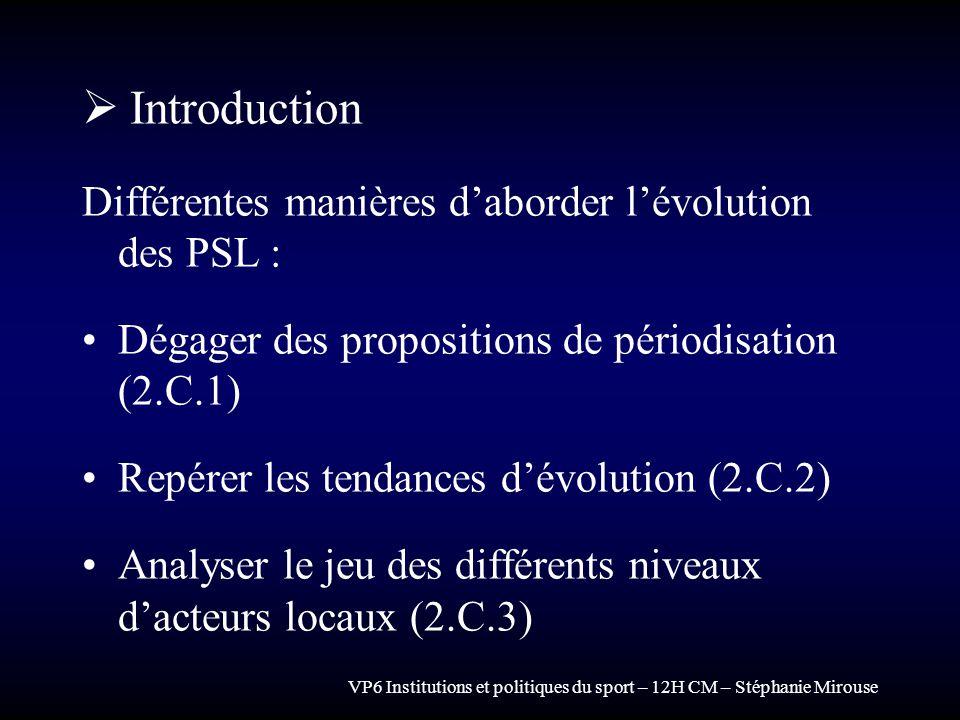 Introduction Différentes manières d'aborder l'évolution des PSL :