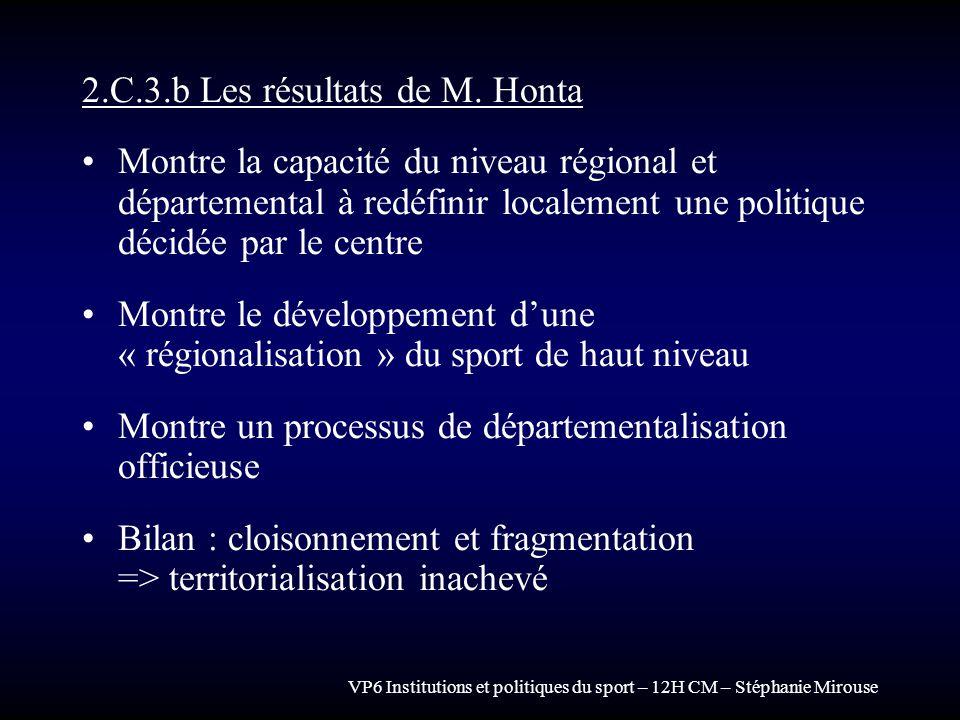 2.C.3.b Les résultats de M. Honta