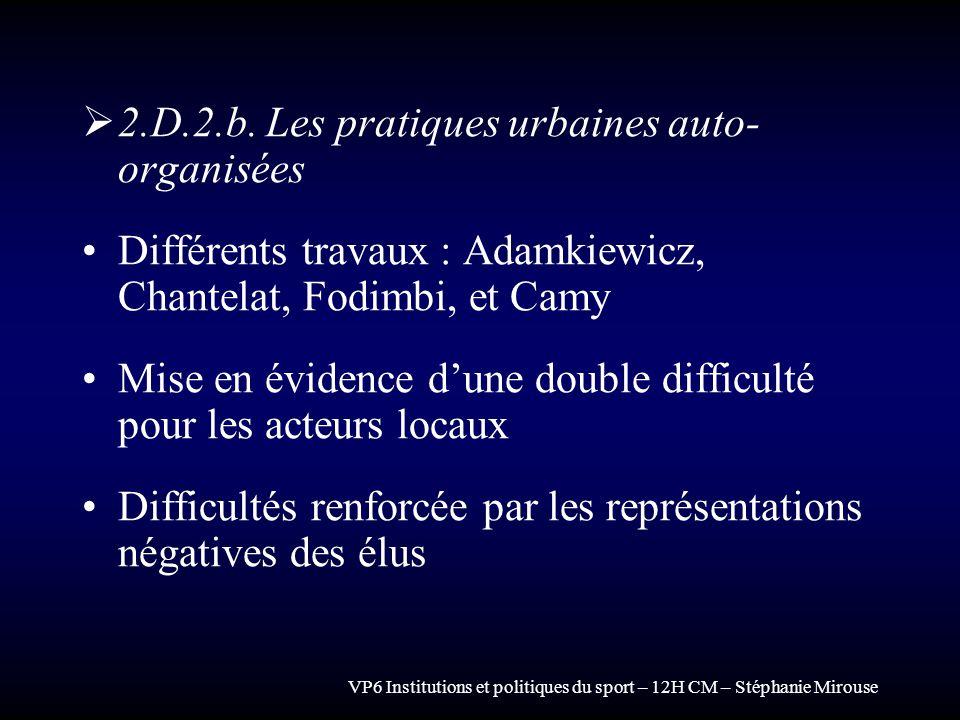 2.D.2.b. Les pratiques urbaines auto-organisées
