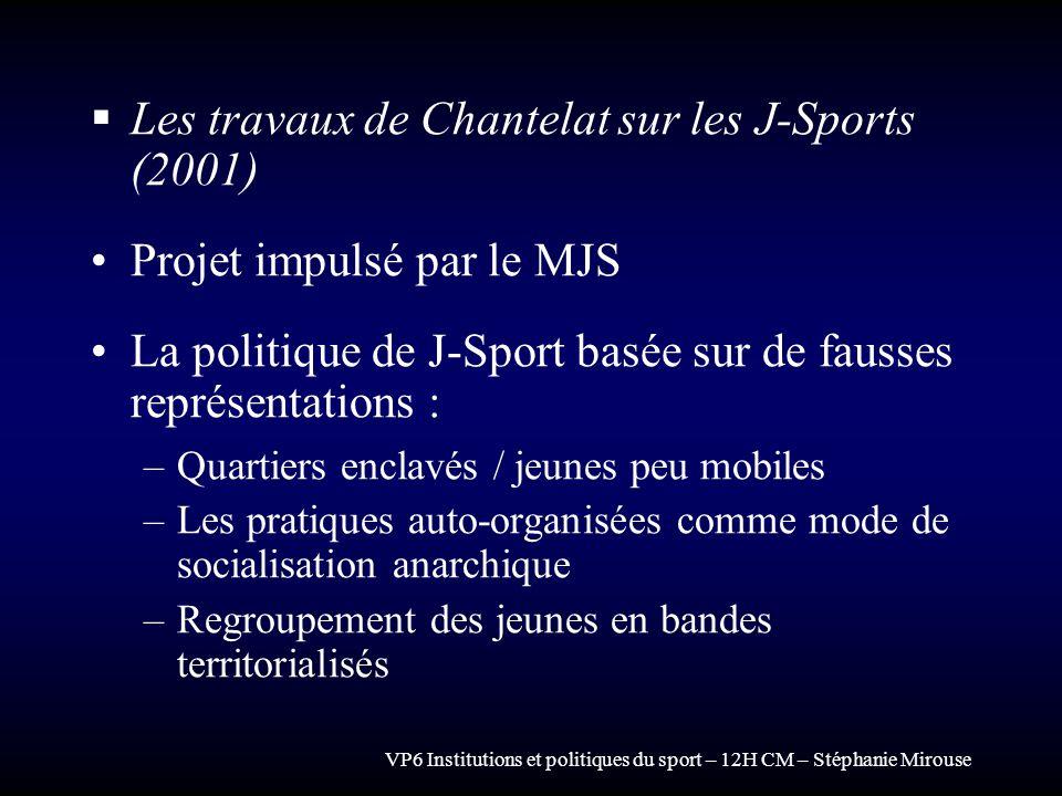Les travaux de Chantelat sur les J-Sports (2001)
