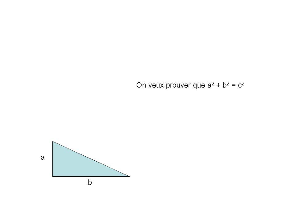 On veux prouver que a2 + b2 = c2