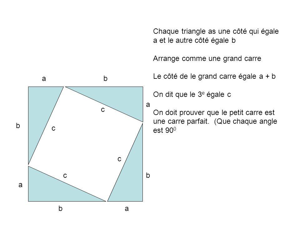 Chaque triangle as une côté qui égale a et le autre côté égale b