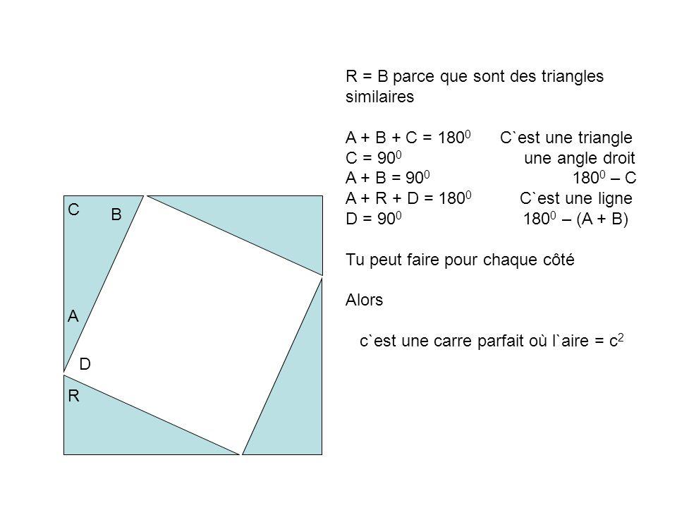 R = B parce que sont des triangles similaires