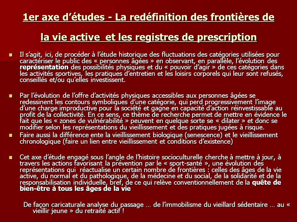 1er axe d'études - La redéfinition des frontières de la vie active et les registres de prescription