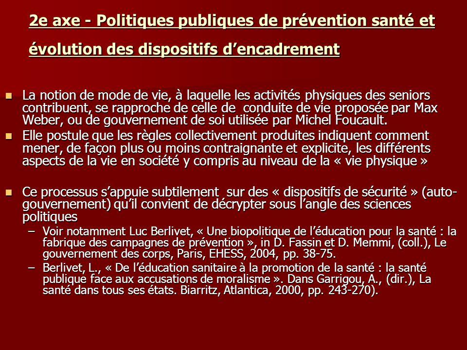 2e axe - Politiques publiques de prévention santé et évolution des dispositifs d'encadrement