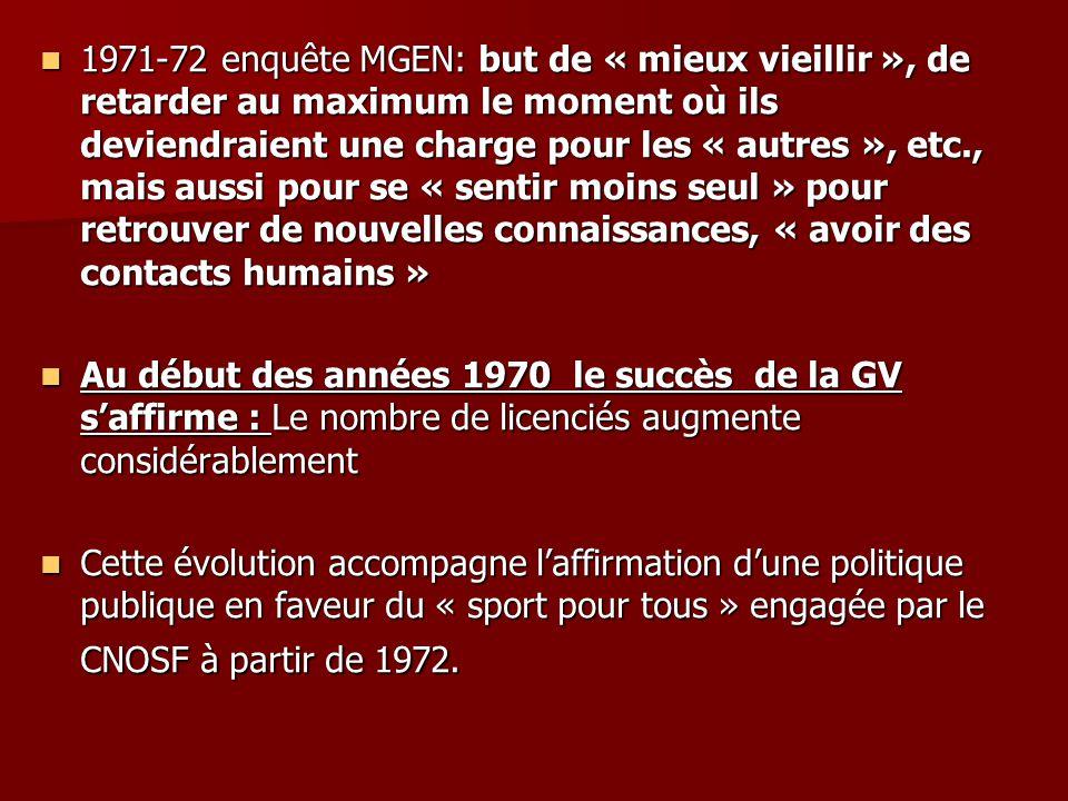 1971-72 enquête MGEN: but de « mieux vieillir », de retarder au maximum le moment où ils deviendraient une charge pour les « autres », etc., mais aussi pour se « sentir moins seul » pour retrouver de nouvelles connaissances, « avoir des contacts humains »