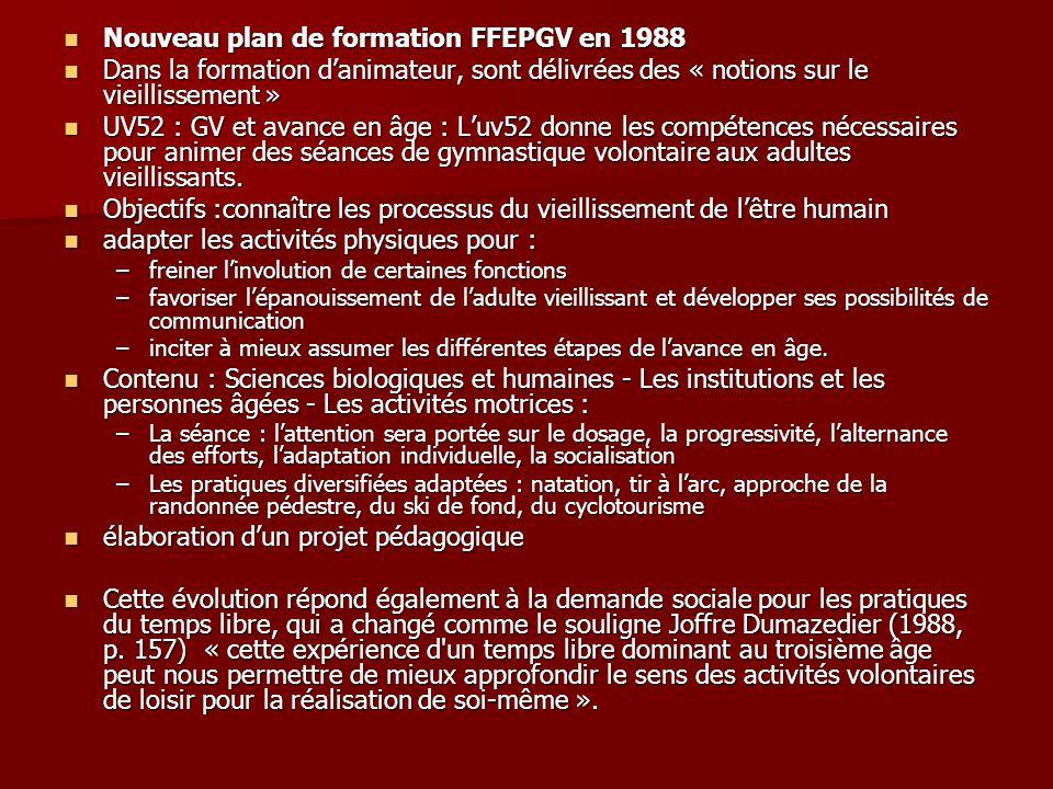Nouveau plan de formation FFEPGV en 1988