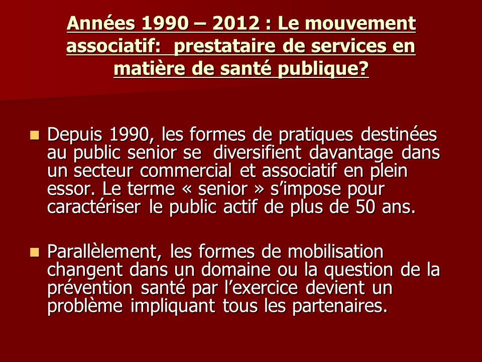 Années 1990 – 2012 : Le mouvement associatif: prestataire de services en matière de santé publique