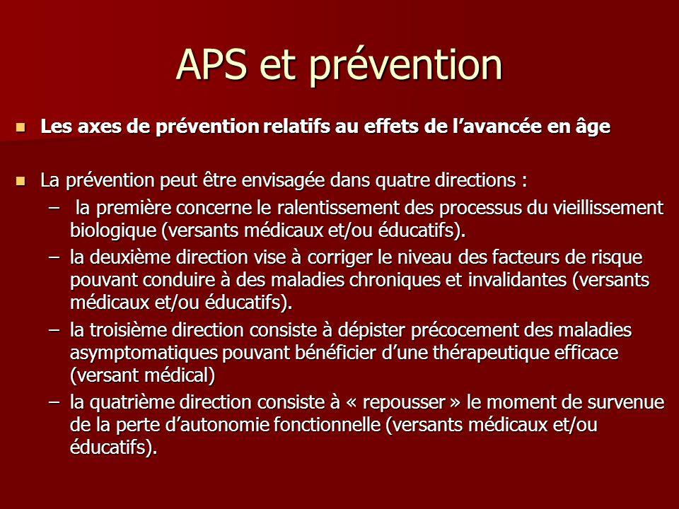 APS et prévention Les axes de prévention relatifs au effets de l'avancée en âge. La prévention peut être envisagée dans quatre directions :
