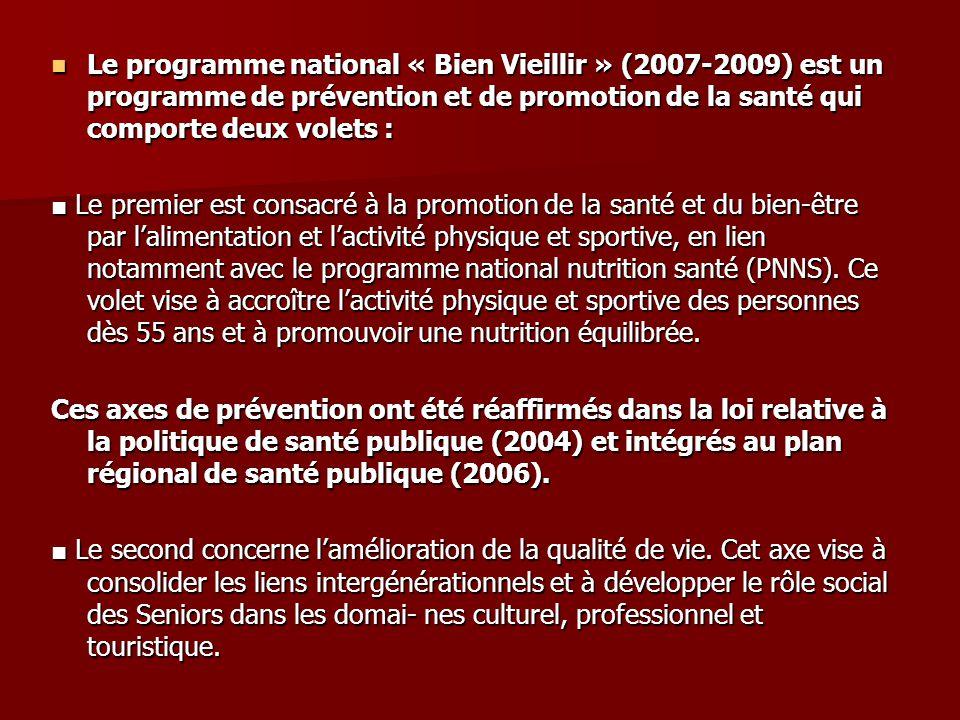 Le programme national « Bien Vieillir » (2007-2009) est un programme de prévention et de promotion de la santé qui comporte deux volets :