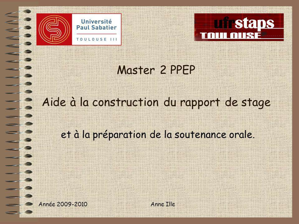 Master 2 PPEP Aide à la construction du rapport de stage