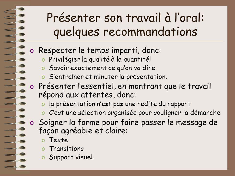 Présenter son travail à l'oral: quelques recommandations
