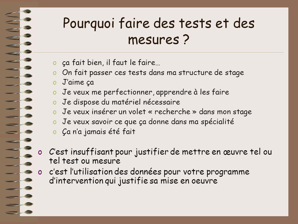 Pourquoi faire des tests et des mesures