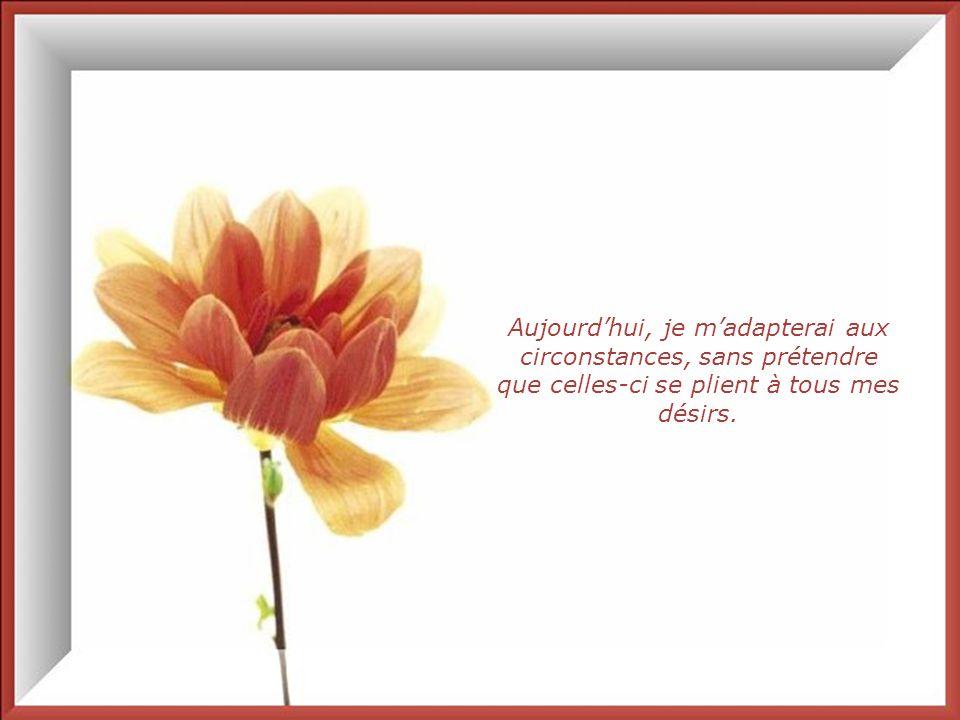 Aujourd'hui, je m'adapterai aux circonstances, sans prétendre que celles-ci se plient à tous mes désirs.