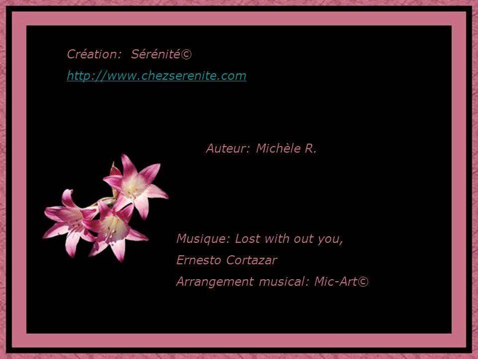 Création: Sérénité© http://www.chezserenite.com. Auteur: Michèle R. Musique: Lost with out you, Ernesto Cortazar.