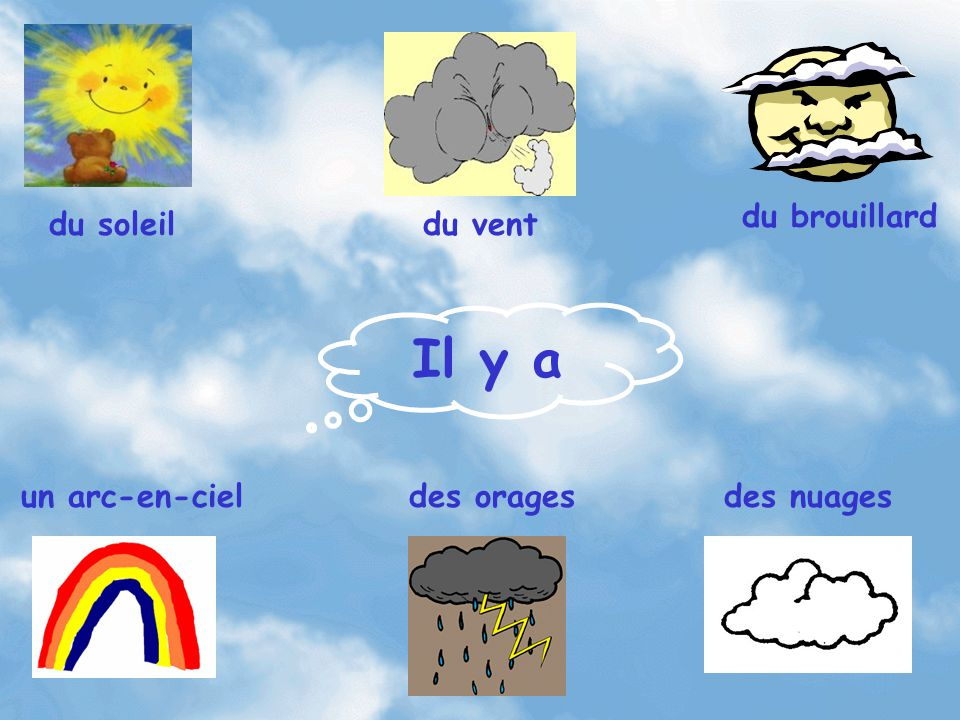 Il y a du brouillard du soleil du vent un arc-en-ciel des orages
