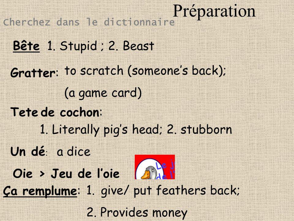 Préparation Bête 1. Stupid ; 2. Beast to scratch (someone's back);