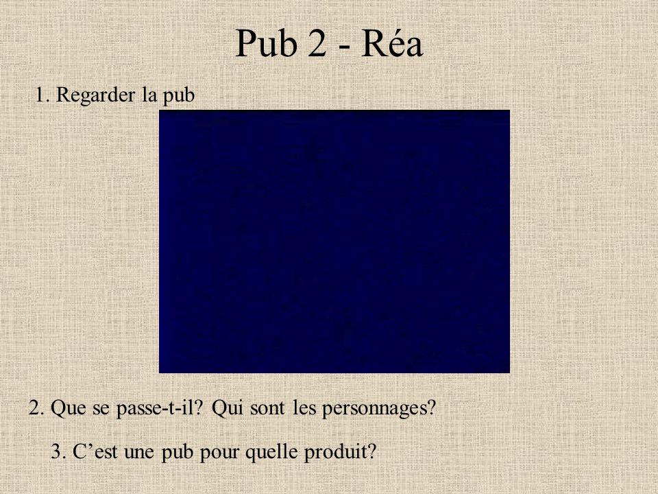 Pub 2 - Réa 1. Regarder la pub
