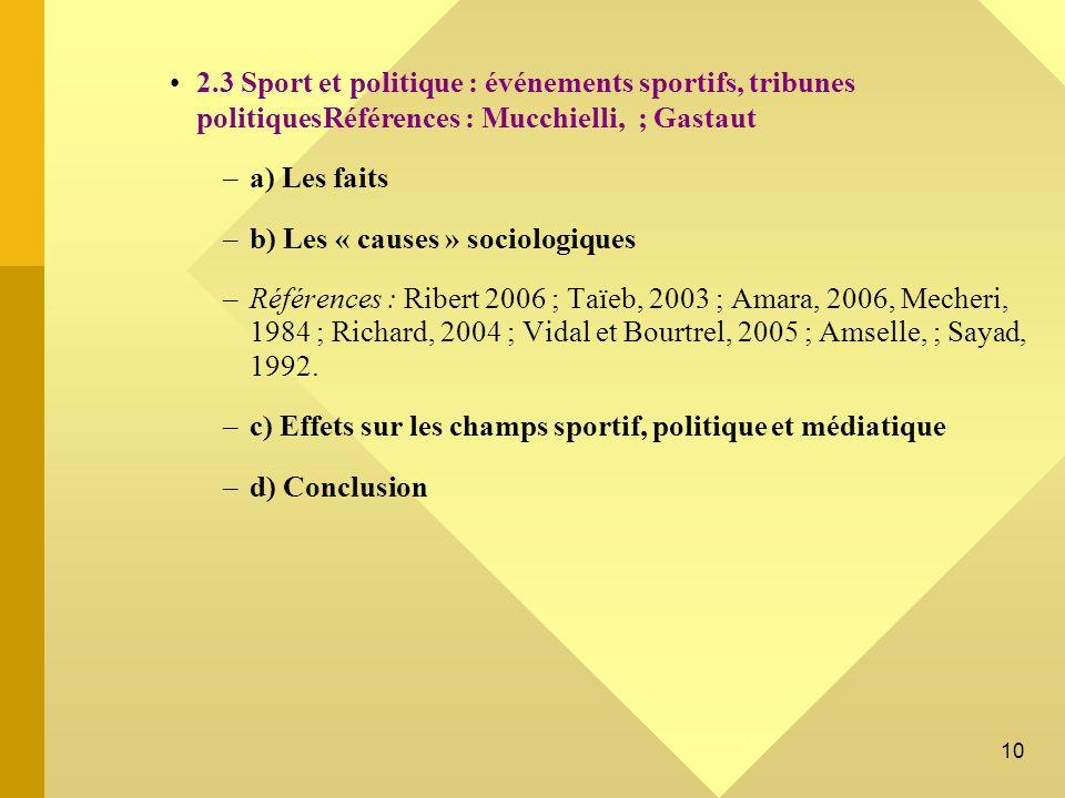 2.3 Sport et politique : événements sportifs, tribunes politiquesRéférences : Mucchielli, ; Gastaut